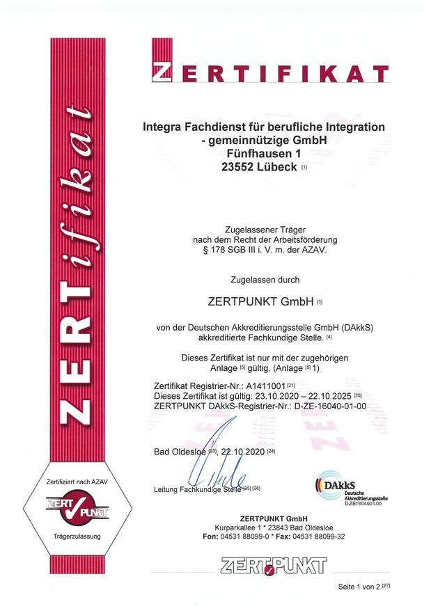 Bild Zertifikat als zugelassener Träger
